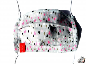 Behelfsmaske mit biegsamen Nasenteil waschbar 100% Baumwolle Gesichtsmaske *raindrops* hellgrau ♥Mäusewerkstatt♥