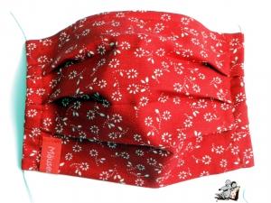 Behelfsmaske mit biegsamen Nasenteil waschbar 100% Baumwolle Gesichtsmaske *weiße Blümchen* auf rot ♥Mäusewerkstatt♥
