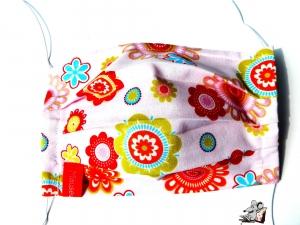 Behelfsmaske mit biegsamen Nasenteil waschbar 100% Baumwolle Gesichtsmaske *Flower Power* auf rosa ♥Mäusewerkstatt♥ - Handarbeit kaufen