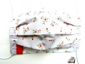 Behelfsmaske mit biegsamen Nasenteil waschbar 100% Baumwolle Gesichtsmaske *kleine Blümchen* weiß ♥Mäusewerkstatt♥