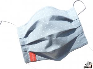 Behelfsmaske mit biegsamen Nasenteil waschbar 100% Baumwolle Gesichtsmaske *Pünktchen* blaugrau ♥Mäusewerkstatt♥ - Handarbeit kaufen