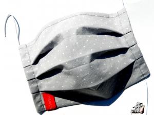 Behelfsmaske mit biegsamen Nasenteil waschbar 100% Baumwolle Gesichtsmaske *Pünktchen* hellgrau ♥Mäusewerkstatt♥ - Handarbeit kaufen