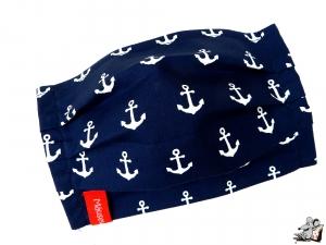 Behelfsmaske mit biegsamen Nasenteil waschbar 100% Baumwolle Gesichtsmaske *Anker* dunkelblau ♥Mäusewerkstatt♥ - Handarbeit kaufen