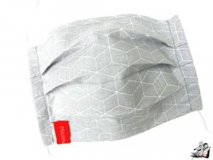 Behelfsmaske mit biegsamen Nasenteil waschbar 100% Baumwolle Gesichtsmaske *Geometrie* hellgrau ♥Mäusewerkstatt♥
