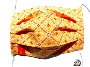 Behelfsmaske mit biegsamen Nasenteil waschbar 100% Baumwolle Gesichtsmaske *ornaments* gelb ♥Mäusewerkstatt♥