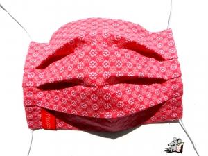 Behelfsmaske mit biegsamen Nasenteil waschbar 100% Baumwolle Gesichtsmaske *kleine Kreise* pink ♥Mäusewerkstatt♥ - Handarbeit kaufen