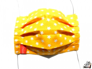 Behelfsmaske mit biegsamen Nasenteil waschbar 100% Baumwolle Gesichtsmaske *Sterne* gelb ♥Mäusewerkstatt♥