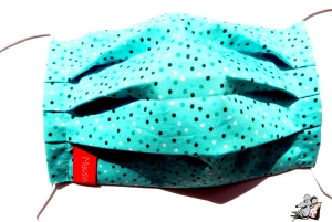 Behelfsmaske mit biegsamen Nasenteil waschbar 100% Baumwolle Gesichtsmaske *gesprenkelt* türkis ♥Mäusewerkstatt♥