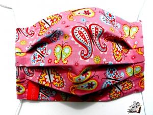 Behelfsmaske mit biegsamen Nasenteil waschbar 100% Baumwolle Gesichtsmaske *Schmetterlinge* rosa ♥Mäusewerkstatt♥ - Handarbeit kaufen
