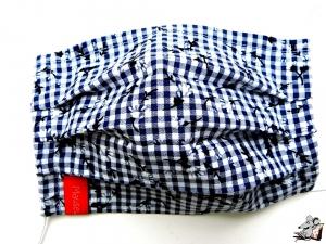 Behelfsmaske mit biegsamen Nasenteil waschbar 100% Baumwolle Gesichtsmaske *Karo Blümchen* dunklblau ♥Mäusewerkstatt♥