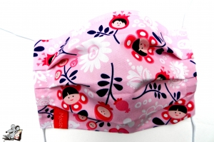 Behelfsmaske mit biegsamen Nasenteil waschbar 100% Baumwolle Gesichtsmaske *bella fiorella* rosa ♥Mäusewerkstatt♥ - Handarbeit kaufen