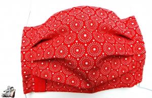 Behelfsmaske mit biegsamen Nasenteil waschbar 100% Baumwolle Gesichtsmaske *Kreise* rot ♥Mäusewerkstatt♥ - Handarbeit kaufen