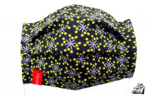 Behelfsmaske mit biegsamen Nasenteil waschbar 100% Baumwolle Gesichtsmaske *kleine Tulpen* grau-schwarz ♥Mäusewerkstatt♥ - Handarbeit kaufen