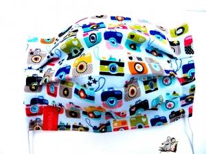 Behelfsmaske mit biegsamen Nasenteil waschbar 100% Baumwolle Gesichtsmaske *cameras* ♥Mäusewerkstatt♥ - Handarbeit kaufen