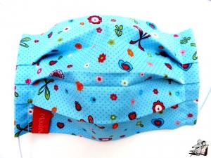 Behelfsmaske mit biegsamen Nasenteil waschbar 100% Baumwolle Gesichtsmaske *Schleifchen* hellblau ♥Mäusewerkstatt♥ - Handarbeit kaufen