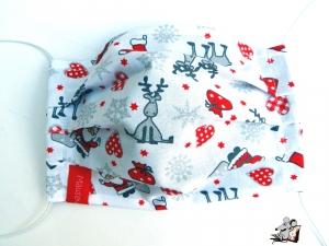 Behelfsmaske mit biegsamen Nasenteil waschbar 100% Baumwolle Gesichtsmaske *Rentier* weiß ♥Mäusewerkstatt♥ - Handarbeit kaufen