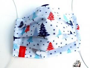 Behelfsmaske mit biegsamen Nasenteil waschbar 100% Baumwolle Gesichtsmaske *Tannenbaum* blau ♥Mäusewerkstatt♥ - Handarbeit kaufen