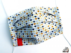 Behelfsmaske mit biegsamen Nasenteil waschbar 100% Baumwolle Gesichtsmaske *Herzchen* natur ♥Mäusewerkstatt♥