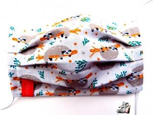 Behelfsmaske mit biegsamen Nasenteil waschbar 100% Baumwolle Gesichtsmaske *Faultier* natur ♥Mäusewerkstatt♥ - Handarbeit kaufen