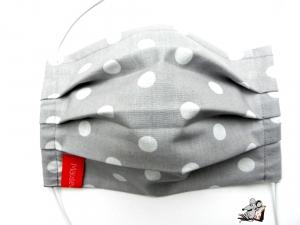 Behelfsmaske mit biegsamen Nasenteil waschbar 100% Baumwolle Gesichtsmaske *Punkte* hellgrau ♥Mäusewerkstatt♥