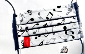 Behelfsmaske mit biegsamen Nasenteil waschbar 100% Baumwolle Gesichtsmaske *Musiker* weiß ♥Mäusewerkstatt♥ - Handarbeit kaufen