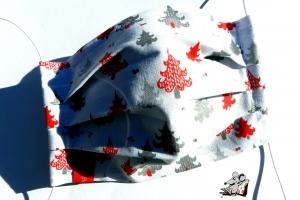 Behelfsmaske mit biegsamen Nasenteil waschbar 100% Baumwolle Gesichtsmaske *Tannenbaum* rot ♥Mäusewerkstatt♥ - Handarbeit kaufen