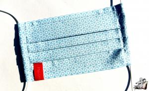 Behelfsmaske mit biegsamen Nasenteil waschbar 100% Baumwolle Gesichtsmaske *Wabe* hellblau ♥Mäusewerkstatt♥