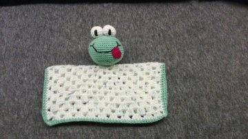 Lustiges Schmusetuch mit Froschmotiv, 100% reine Baumwolle