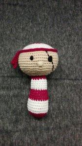 Süße Babyrassel mit Piratenmotiv, 100% Baumwolle