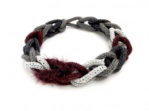 Halskette Flechtwerk Weinrot Grau Seide Boa Handmade Unikat