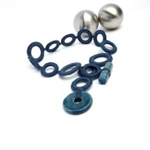 Halskette Ringe Seide Leinen Snorkel Blue Keramik Perle Blau Handmade