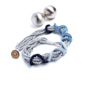 Halskette Ringe Handmade Hellblau Blau Silbergrau Unikat