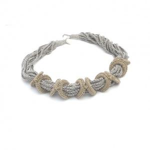 Halskette Ringe Seidenschmuck Kieselgrau Gold Handmade
