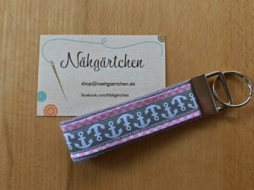 Schlüsselanhänger Anker Pastell rosa/grau