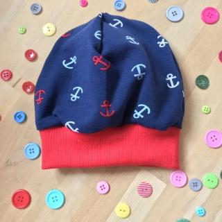 Mütze Anker rot-blau