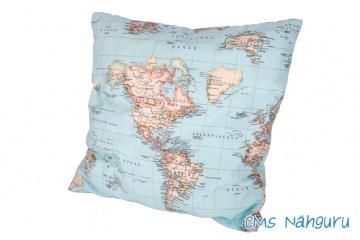 Kissenbezug ♥ Weltkarte ♥ 50 x 50 cm Wunschstickerei möglich, Individualisierbar auch in der Größe