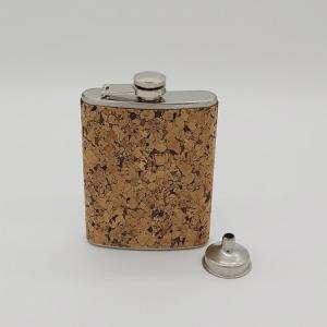 Flachmann plus Hülle aus Korkleder Farbe natur - Handarbeit kaufen