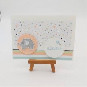 Glückwunschkarte zur Geburt Elefant mit bunten Sternen - Handarbeit kaufen