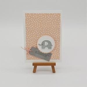 Glückwunschkarte zur Geburt mit Elefant - Handarbeit kaufen