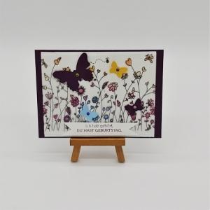 Glückwunschkarte Geburtstag mit Schmetterlingen - Handarbeit kaufen