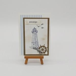 Glückwunschkarte Motiv Leuchtturm - Handarbeit kaufen
