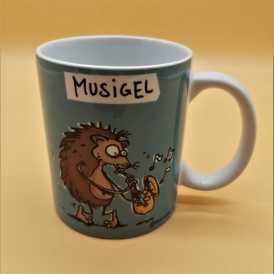 Kaffeetasse aus Keramik Motiv Igel mit Saxophon