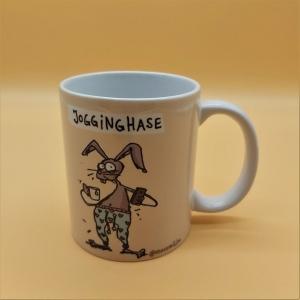 Kaffeetasse aus Keramik Motiv Hase in Jogginglaune