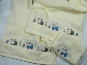 3er Set Frottee Handtuch Gästetuch Waschhandschuh Lätzchen in hellgelb mit Motiv Katze