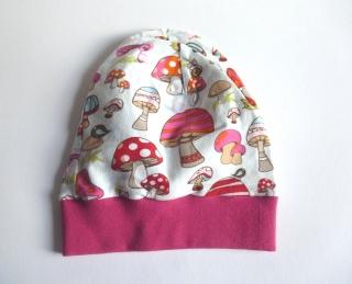 Kinder BEANIE - PILZE - KU 48-50 cm weiß-pink genäht