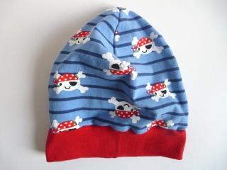 Kinder BEANIE - TOTENKOPF-PIRATEN - KU 48-50 cm blau-rot genäht