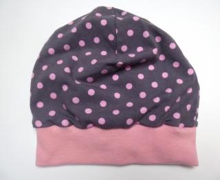 Kinder BEANIE - PUNKTE-DOTS - KU 48-50 cm grau-rosa genäht