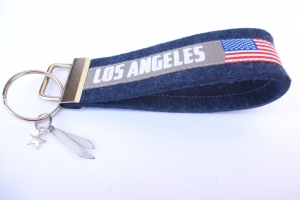 Schlüsselanhänger - LOS ANGELES - HOLLYWOOD - Wollfilz jeansblau