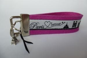 Schlüsselanhänger - PARIS CITY-SKYLINE - Wollfilz pink