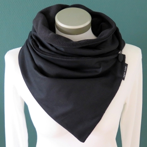 Milo-Schaly Wickelschal mit Knopf Damen / Herren unisex Schal Fleece schwarz uni Knopfschal - Handarbeit kaufen